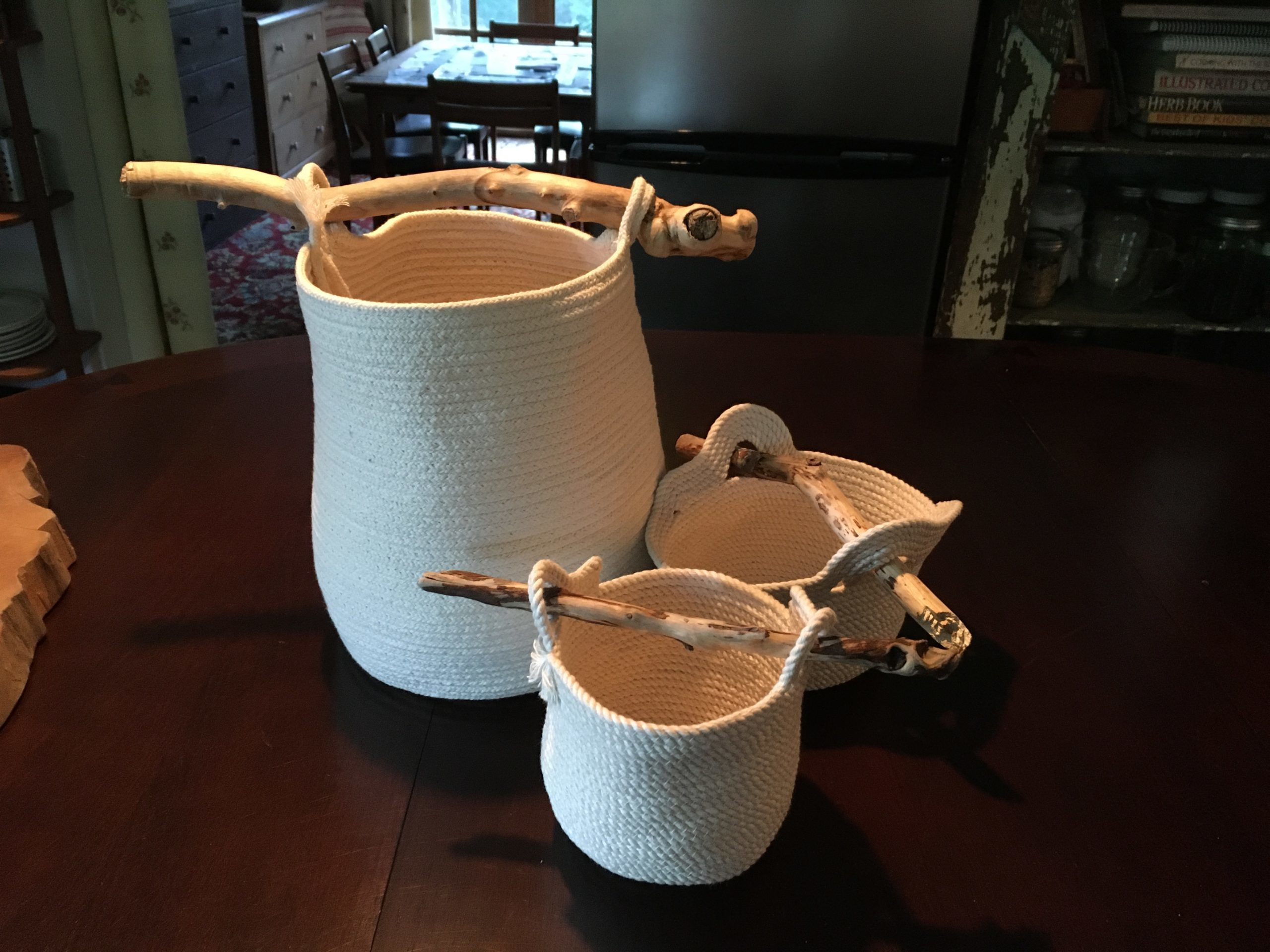 Cotton Basket with bone handle 129$
