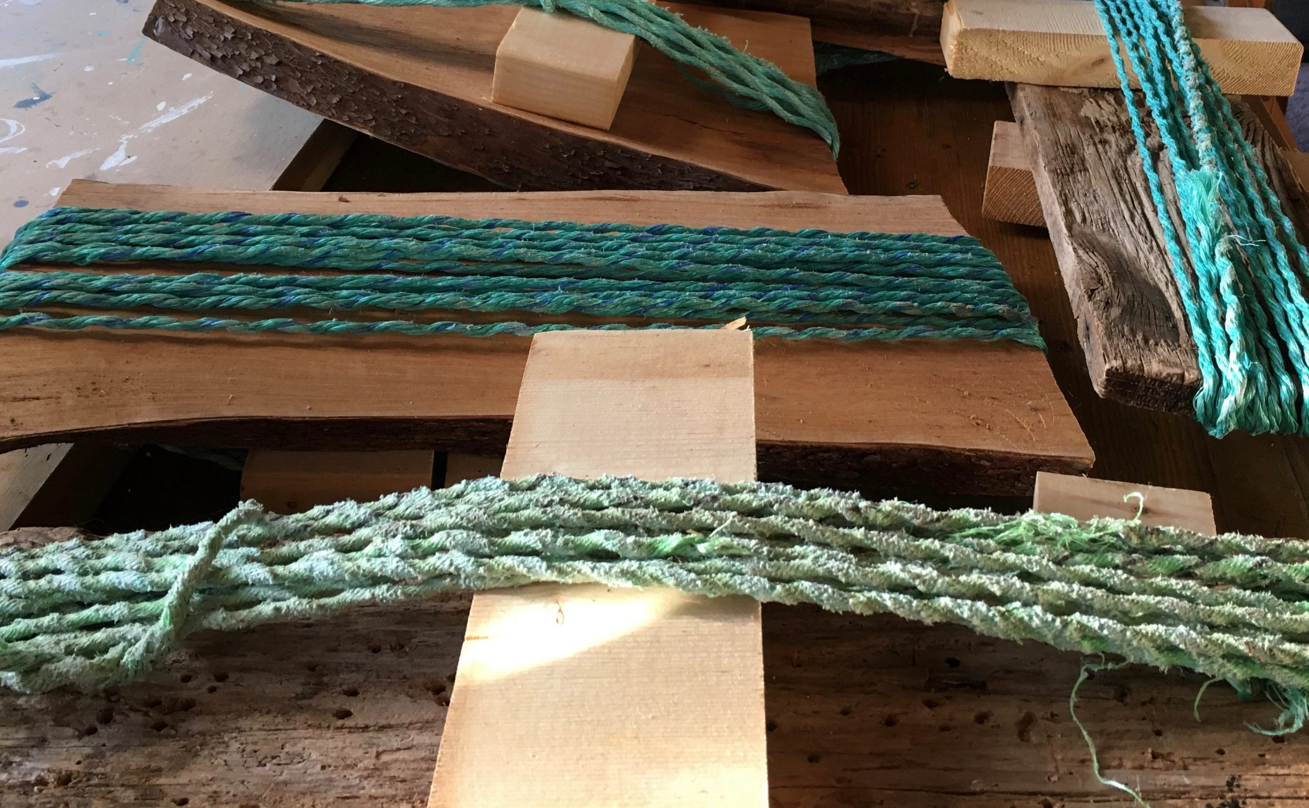 Stretching the washed rope